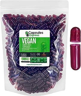 Capsules Express- Size 00 Purple Carrot Empty Vegan Capsules - Vegetarian/Vegetable Pill Capsule - DIY Powder Filling (1000)