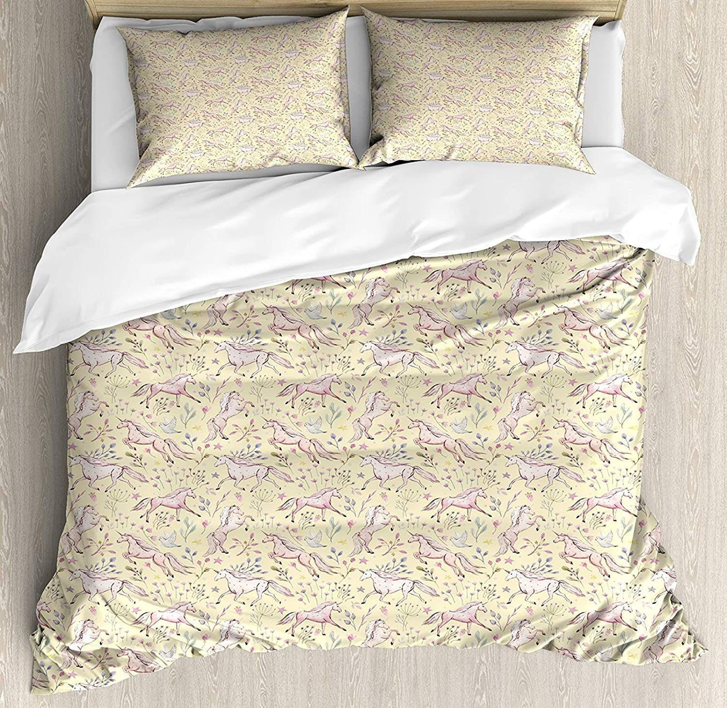 Abstract King Size 4 Pcs Bedding Set, Watercolor Unicorns Pattern with Pale Tones on Pastel Flower and Stars Background All Season Duvet Cover Bed Set, Multicolor