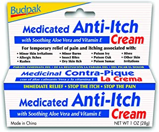 Budpak Medicated Anti Itch Cream, 1 Ounce (Pack of 6)