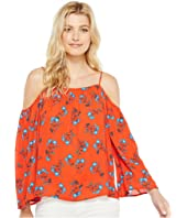 Vince Camuto - Long Sleeve Tropic Spritz Cold-Shoulder Blouse