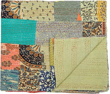 """Indian Traditional Pure Cotton Patchwork Kantha Quilt, Paisley Print Kantha Quilt Multi Color (Multicolor-13, Queen (90""""x"""