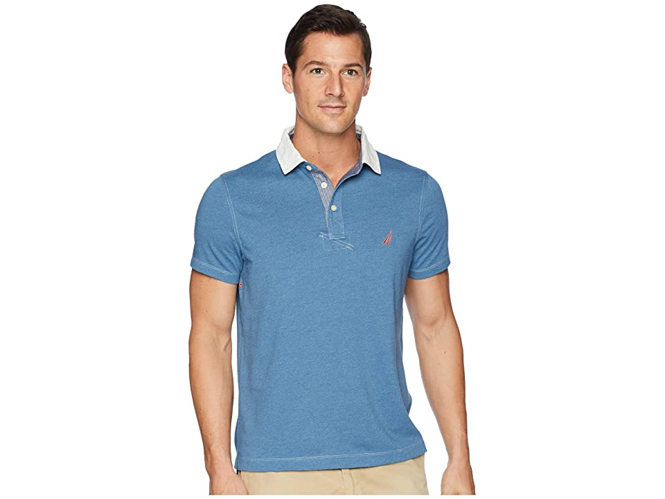 Nautica Faux Indigo Sporty Polo (Blue Heather) Men