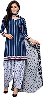 Sukh Creations dress material for women punjabi patiyala salwar suit material for women - Blue Checks