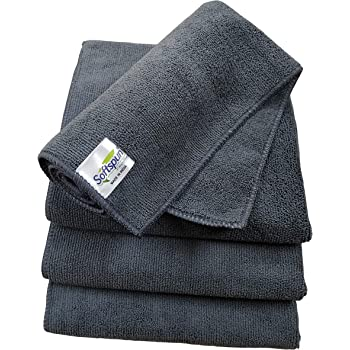 SOFTSPUN Microfiber Cloth - 4 pcs - 40x40 cms - 340 GSM Grey - Thick Lint & Streak-Free Multipurpose Cloths - Automotive Microfibre Towels for Car Bike Cleaning Polishing Washing & Detailing