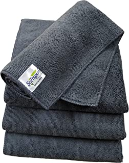 SOFTSPUN Microfiber Cloth - 4 pcs - 40x40 cms - 340 GSM Grey - Thick Lint & Streak-Free Multipurpose Cloths - Automotive Microfibre Towels for Car Bike Cleaning Polishing Washing & Detailing