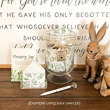 KindNotes Memory Jar (Deluxe Kit)   Blessings Jar, Memory Jar, Home Decor & Unique Gift - Green Foliage