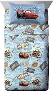 Disney/Pixar Cars Tune Up Blue/Gray 3 Piece Twin Sheet Set with Lightning McQueen & Mater, Tune Up Full, Full