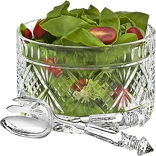 Set Of 3 Crystal Clear Salad Bowl Serving Set, Salad Serving Utensils Included Large Serving Dish,