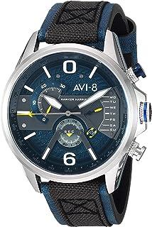 AVI-8 Men's 'Hawker Harrier II' Quartz Stainless Steel and Leather Aviator Watch