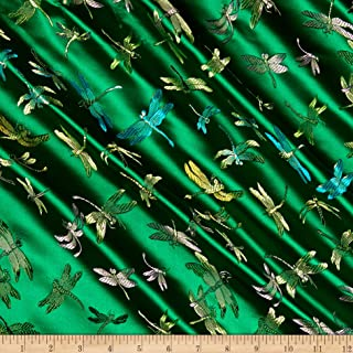 Fabric Merchants Chinese Brocade Dragonfly Kelly Green