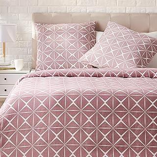 Amazon Basics - Juego de ropa de cama con funda de edredón, de satén, 240 x 220 cm / 65 x 65 cm x 2, Malva cuarzo