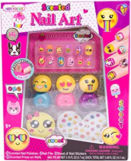 Hot Focus Scented Nail Art Kit- Emoji Girls Nail Kit Includes 12 Press on Nails, 3 Nail Polishes, 31 Nail Stickers and a Nail File – Non-Toxic Water Based Peel Off Nail Polish