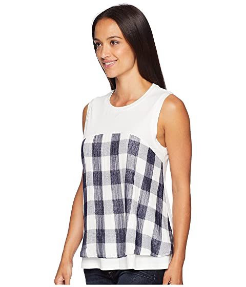 Ivanka Trump Sleeveless Ruffle Hem Gingham Blouse Ivory/Navy Authentic Cheap Price Discount Explore Free Shipping How Much Free Shipping Original Free Shipping Get To Buy ifFfAfUnkw