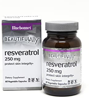 Bluebonnet Nutrition Beautiful Ally Resveratrol 250mg Vegetarian Casules, 60 count