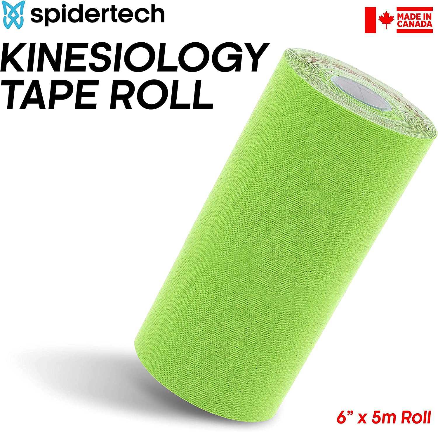 Preferred by Athletes High-Grade Water-Resistant Material Black Help Re-Train Muscles SpiderTech Therapeutic XXL Kinesiology Tape Roll Reduce Pain and Inflammation 6 inch - 152 mm x 5 m