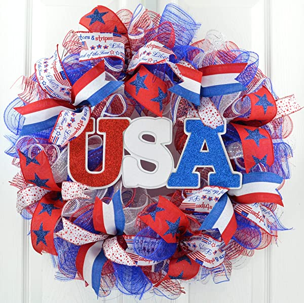 Fourth Of July Wreath USA Door Wreath Red White Blue Flag Decoration Patriotic Decor