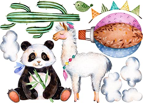 Bilderwelten Wandtattoo Panda Und Lama Aquarell Set Wandtattoo Wandsticker Kinderzimmer Bar Illustration Grosse 39cm X 55cm Amazon De Kuche Haushalt