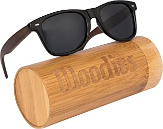 Walnut Wood Sunglasses with Polarized Lens in Bamboo Tube...