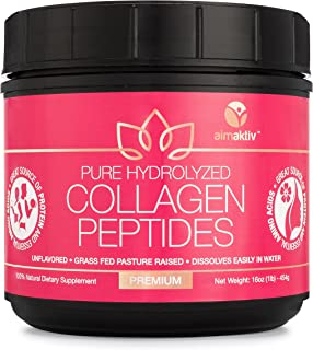 Collagen Peptides Powder - 16oz, 41 Servings, Type 1 & 3 Bovine, Rich in Protein, Grass-Fed, Pasture-Raised, Hydrolyzed for Highest Absorption, Natural, Non-GMO, Gluten Free, Unflavored, Easy to Mix