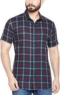 Go Stylish 100% Cotton Checks Half Shirt for Men