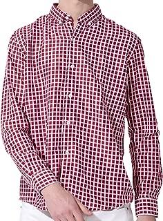 [セカンドルーツ] パターンボタンダウン 男性 ストライプ チェック ポリエステル 長袖 パターンボタンダウンシャツ