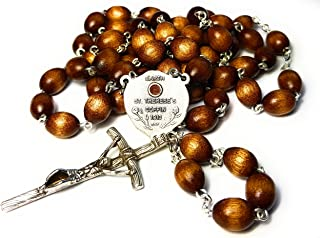 RELIC Rosary Reliquary Earth from ST Therese 'S Coffin Therese of Child Jesus Holy Face Carmelite Nun Little Flower Patron France Russia HIV AIDS sufferers Gardener Florist Loss of Parent (Brown)