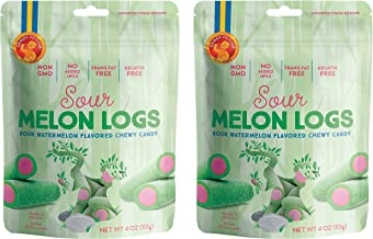 Candy People 100% Swedish Sour Melon Logs - Sour Watermelon Flavored Chewy Candy –– Non-GMO, Trans Fat Free and Gelatin Free - 2-Pack
