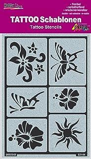 KREUL Hobby Line Tattoo Schablone Sonne, Blumen, Schmetterli