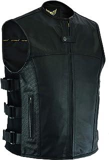 Leatherick Heren SWAT tactische stijl topnerf Biker lederen gilet met diepe zak en perforatie op zakpanelen