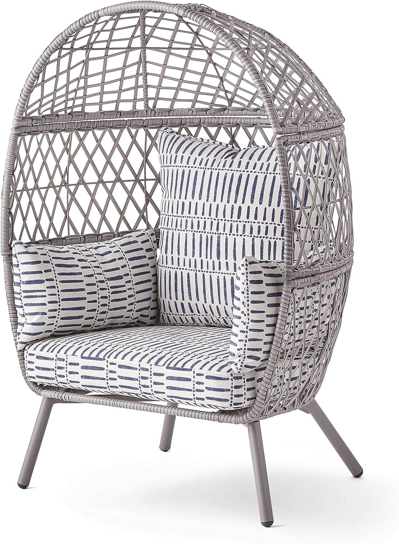 Better Homes & Gardens Ventura Outdoor Kid's Stationary Egg Chair, Gray (Grey)