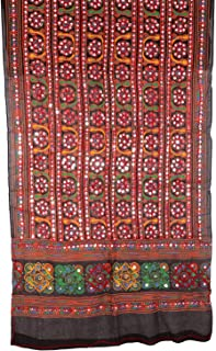 Beautiful Cotton Heavy Kutch Print Dupatta With Aari Embroidery & Mirror Stickers work Wrap Neck Scarf Fashionable Stole - For Girls Ladies