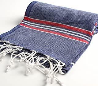 Paradise Series Turkish Bath Towels – Traditional Peshtemal Design for Bathrooms, Beach, Sauna – 100% Natural Cotton, Ultra-Soft, Fast-Drying, Absorbent – Warm, Rich Colors with Stripes Dark Blue/Red