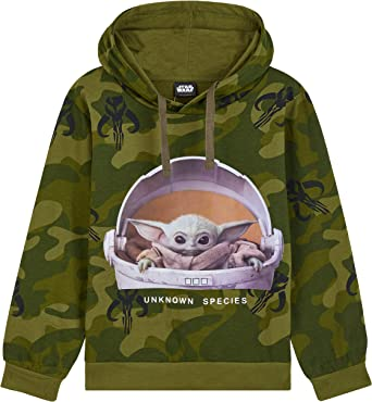 Disney Star Wars Baby Yoda Hoodie, Camo Hoodies for Boys and Teens Age 7-15 Years, Clothes for Kids Featuring The Child, Gift Idea from The Series The Mandalorian
