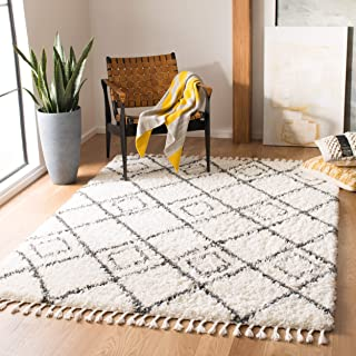 Safavieh MTS335A-8 Moroccan Tassel Shag Collection MTS335A Ivory and Dark Grey (8' x 10') Area Rug,