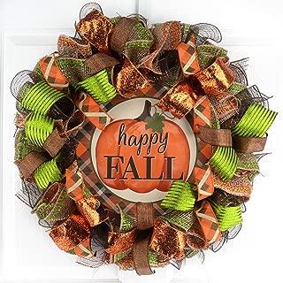 Happy Fall Wreath | Pumpkin Thanksgiving Deco Mesh Front Door Wreath; Brown Orange Burlap Green