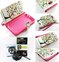 Mstechcorp(TM) For LG Optimus L70 Design Dual-Use Flip PU Leather Fold Wallet Pouch Case + {Touch Screen Stylus + Mstechcorp(TM) Package Screen Protector + Hands Free Earphone With Carrying Case} (WALLET COLORFUL TREE)
