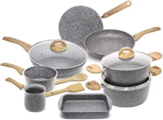 HOMEWAY - 13 PIECE MARBLE COATED COOKWARE SET, BAKING TRAY + CASSEROLE + COFFEE WARMER + FRYING PAN + SAUCE PAN + TAWA PAN...