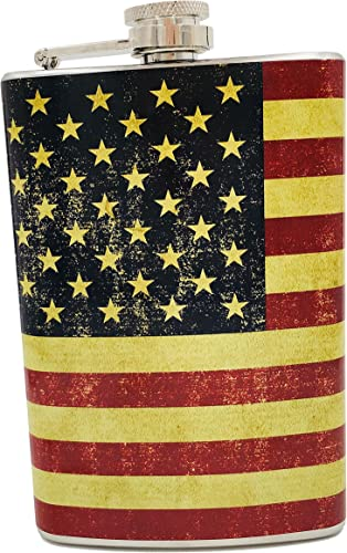 2021 Vintage American lowest Flag Stainless Steel sale Flask, 8 oz. outlet sale