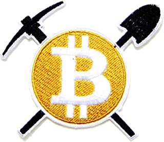 Bitcoin Crypto Currency Money Mining Patch Iron on Embroidery Applique for Hoodie Pants T Shirt Jacket Vest Backpack Bag Baseball Cap Hat Craft Costume Logo Badge Sign Emblem Gift