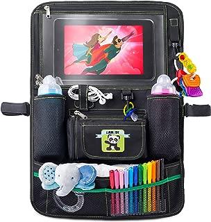 Cartik 儿童后座汽车收纳袋,适用于 iPad Touch 屏幕的平板电脑支架,适用于婴儿推车,大容量存储,踢垫,后座?;さ?,收纳电子书。 黑色 One Pack