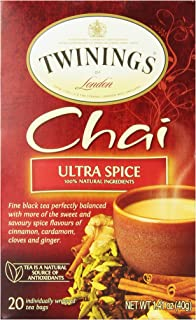 Twinings of London Ultra Spice Chai Tea Bags, 20 Count (Pack of 6)