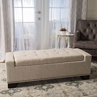 Christopher Knight Home 300165 Living Espana Wheat Fabric Storage Ottoman w/Studs