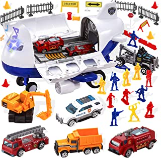 JOYIN Transport Cargo Airplane Toy City Hero with Vehicles Including 1 Friction Powered Air Plane, 6 Die-Cast Cars, 12 Worker Action Figures, Various Traffic Road Signs