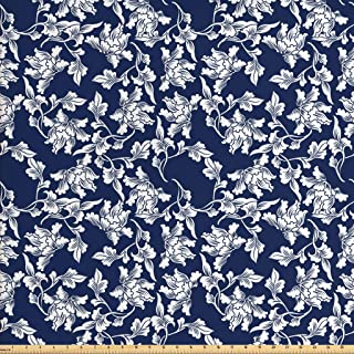 Ambesonne Navy Blue Fabric by The Yard, Floral Arrangement Botanic Foliage Pattern Japanese Composition Eastern, Decorative Fabric for Upholstery and Home Accents, 1 Yard, Blue White