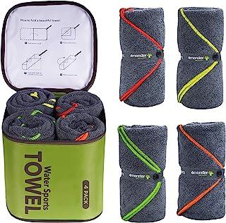 4Monster 4 Pack حوله حمام میکروفایبر حوله ای حوله ای حوله ای ورزشی حوله ای با کیف لوازم جانبی ، خشک شدن سریع