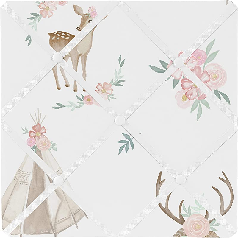 Sweet Jojo Designs Blush Pink Mint Green And White Boho Fabric Memory Memo Photo Bulletin Board For Woodland Deer Floral Collection