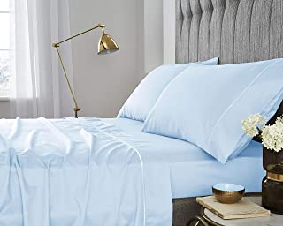 400 Thread Count 100% Pima Cotton Sheets - Extra Long-Staple Cotton King Sheets, Fits Mattress Upto 16'' Deep Pocket, Soft Sateen Weave Cotton Bed sheets and Pillowcases – Sky Blue, King