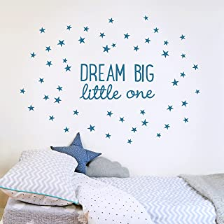 Koko Kids Dream Big Little One Fabric Wall Decal ~ for Baby Nursery and Children's Rooms. Made of Fabric, not Vinyl, Free from BPA & Phthalates. (Small, Midnight Blue)