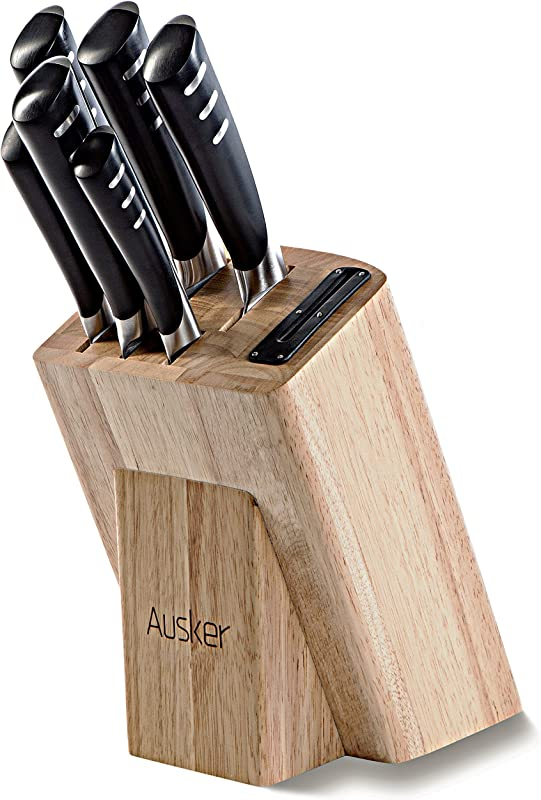Ausker Kitchen Knife Set With Wood Block And Sharpener Stainless Steel 6 Piece