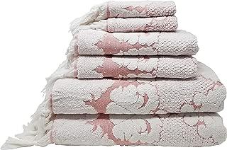 LUNASIDUS Nysa Floral Ornament Design Knotted Hem Jacquard 6 Piece Towel Sets - 100 Percent Genuine Turkish Cotton - Made in Turkey (Coral)